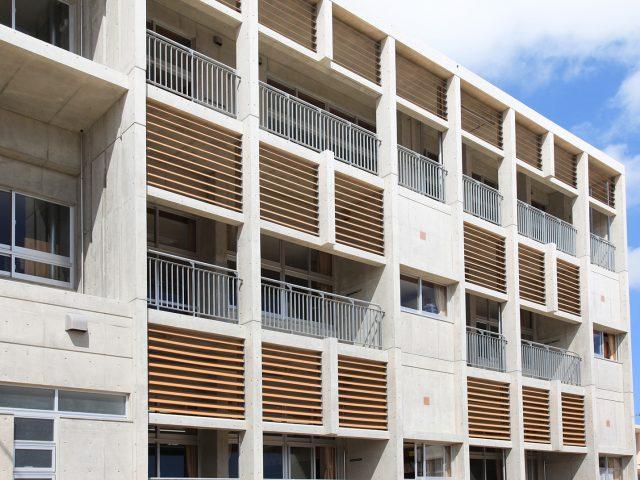 コンクリートの外壁に木目調のこだわり板を使って温かい印象に