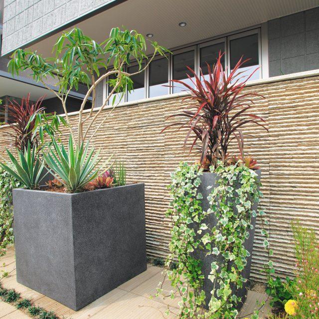 室内から見える場所にポットを置き、緑豊かな植栽でガーデンを彩ります