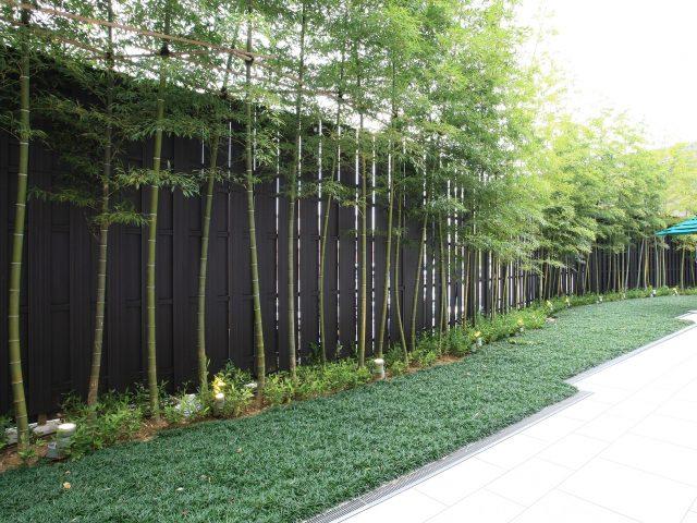 和風の庭に合わせた和モダンな板塀フェンス