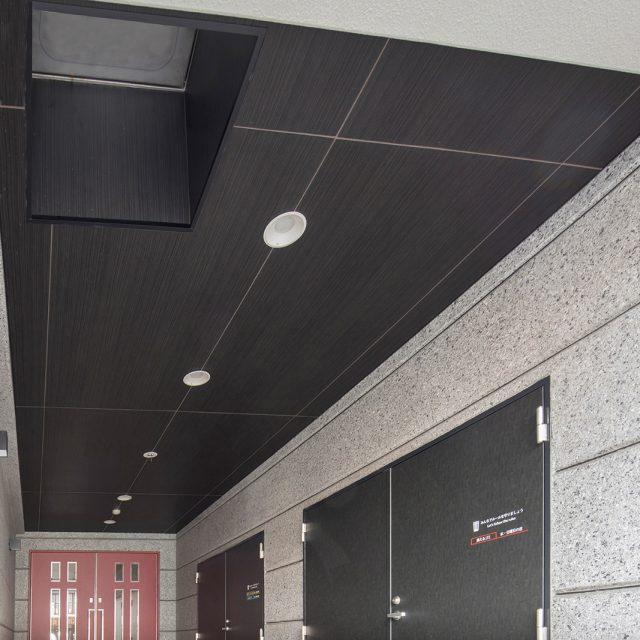集合住宅の玄関内天井にエバーアートボード(チャコールグレー)で落ち着いた雰囲気に