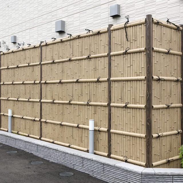 e-バンブーユニット こだわり竹 建仁寺垣で設備機器の目かくしに