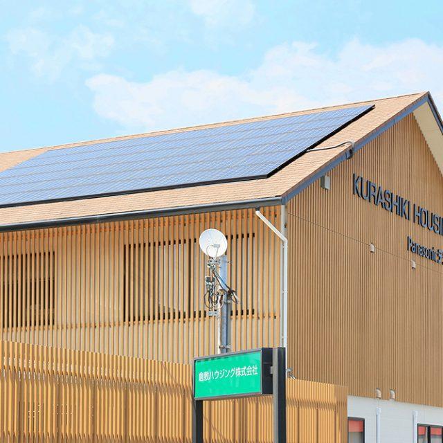 ストリンガーシリーズ溝付格子材を外壁の装飾に使い、建物全体をライトオークの明るいイメージに