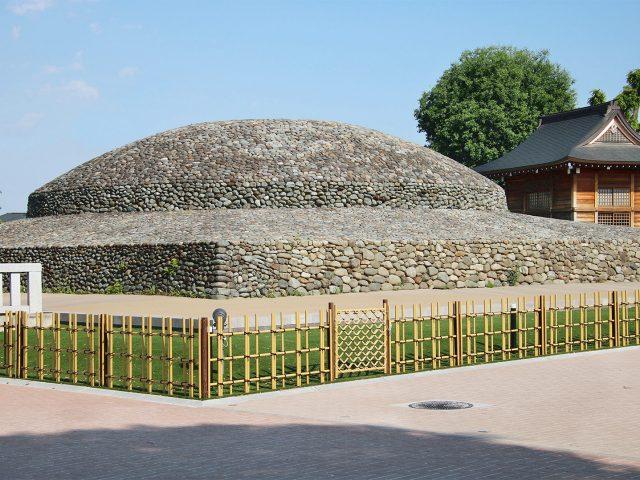 四ツ目垣フェンスL型で史跡の境界をつくる