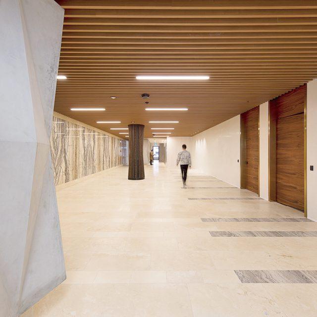 エバーアートウッド壁貼用格子材を使って天井スペースを装飾(オーストラリア現場施工)