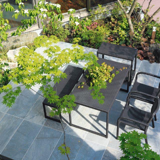 庭座 シンプルスクエアテーブル /シンプルアームチェアー
