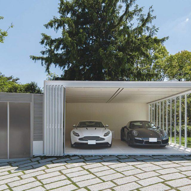 エバーアートボード(ホワイトパイン)を採用することで明るさを増し開放感あふれるガレージに